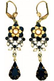 Michal Negrin Black Gold Teardrop Earrings
