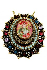 Michal Negrin Victorian Roses Crystals Locket Necklace