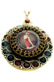 Michal Negrin Swimmer Girl Crystals Locket Necklace