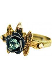 Michal Negrin Grey Teal Rose with Leaves Ring