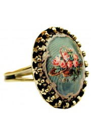 Michal Negrin Victorian Roses Small Cabochon Cameo Ring