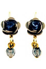 Michal Negrin Blue Grey Rose Earrings