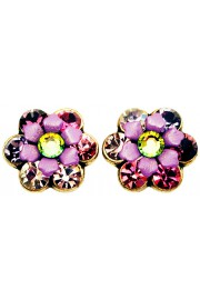 Michal Negrin Purple Pink Crystal Flowers Stud Earrings