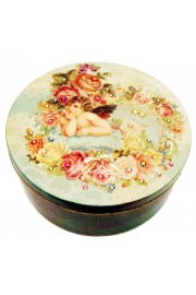 Michal Negrin Musing Cherub Large Round Jewelry Box