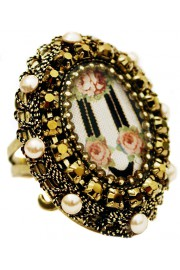 Michal Negrin Stripes Roses Locket Ring