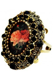 Michal Negrin Black Roses Locket Ring
