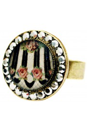 Michal Negrin Stripes Roses Round Cameo Crystal Ring