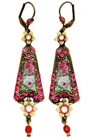 Michal Negrin Fuchsia Roses Triangle Earrings
