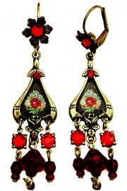 Michal Negrin Red Roses Cameo Earrings