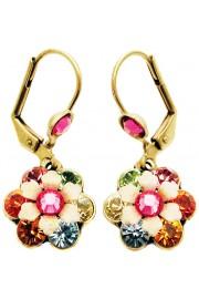 Michal Negrin Multicolor Pink Crystal Flower Earrings
