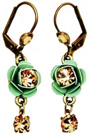 Michal Negrin Gold Green Crystal Rose Earrings