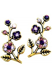 Michal Negrin Purple Cherry Blossom Stud Earrings