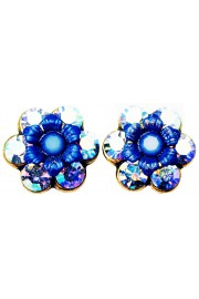 Michal Negrin Icy Blue Silver Crystal Flower Stud Earrings