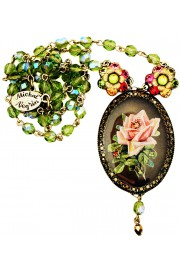 Michal Negrin Multicolor Rose Cameo Beaded Necklace