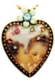 Michal Negrin Cherubs Kiss Heart Necklace