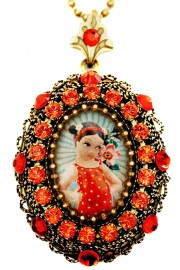 Michal Negrin Tangerine Retro Girl Locket Necklace