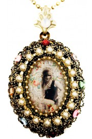 Michal Negrin Flapper Girl Cameo Locket Necklace
