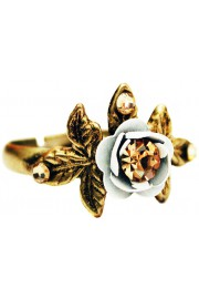 Michal Negrin White Gold Rose with Leaves Ring