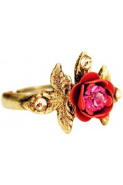 Michal Negrin Fuchsia Red Rose with Leaves Ring