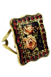 Michal Negrin Garnet Roses Rectangle Ring