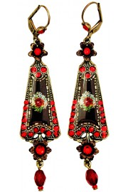 Michal Negrin Red Antique Roses Triangle Earrings