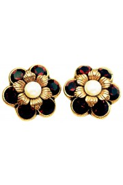 Michal Negrin Pearl Garnet Crystal Flowers Stud Earrings