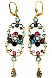 Michal Negrin Blue Purple Garnet Icoinic Chandelier Earrings