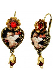 Michal Negrin Cupid Cabochon Heart Earrings