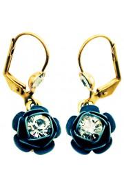 Michal Negrin Teal Rose Earrings