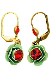 Michal Negrin Red Green Rose Earrings