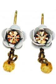 Michal Negrin White Gold Rose Beads Earrings