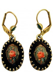 Michal Negrin Black Rose Cabochon Cameo Earrings