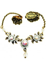 Michal Negrin White Triple Rose Necklace