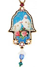 Michal Negrin Love Doves Large Hamsa Necklace