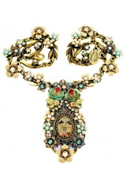 Michal Negrin Dolls Kiss Cameo Flowers Necklace