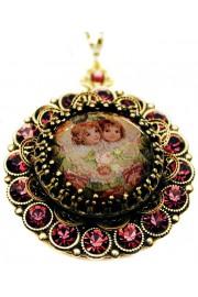 Michal Negrin Purple Cherubs Crystals Locket Necklace