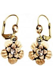 Michal Negrin Cream Peach Flower Earrings