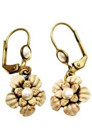 Michal Negrin Cream Pearl Flower Earrings