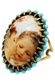 Michal Negrin Kissing Cherubs Turquoise Cabochon Cameo Ring