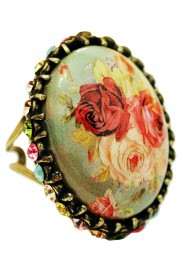 Michal Negrin Roses Crystals Cabochon Cameo Ring