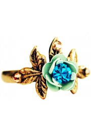 Michal Negrin Turquoise Green Rose and Leaves Ring