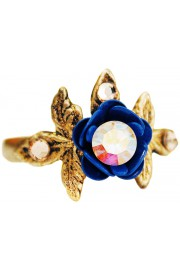 Michal Negrin Blue Aurora Borealis Rose and Leaves Ring