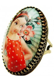 Michal Negrin Retro Girl Cabochon Cameo Ring