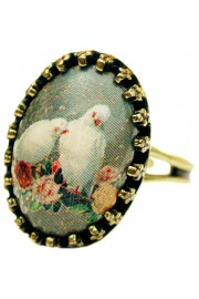 Michal Negrin Doves Small Cabochon Cameo Ring