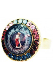Michal Negrin Retro Swimmer Round Cameo Crystal Ring