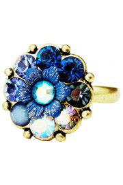 Michal Negrin Blue Swirl Crystals Flower Ring