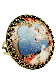 Michal Negrin Doves Round Cameo Ring