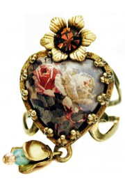 Michal Negrin Vintage Roses Heart Ring
