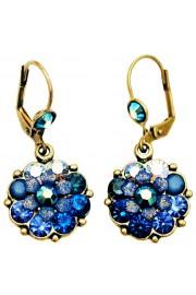 Michal Negrin Blue Swirl Crystals Flower Earrings