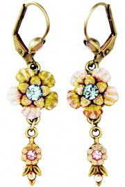 Michal Negrin Pink Green Tie-Dye Vintage Flower Earrings